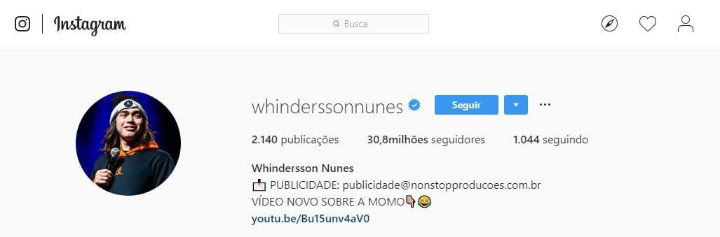 Foto de perfil do Instagram: imagem do perfil do Whinderson Nunes no Instagram