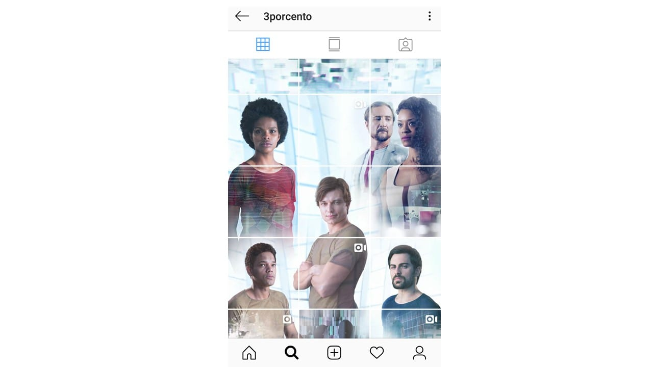 Mosaico no Instagram: imagem do mosaico no perfil da marca 3 porcento no Instagram.