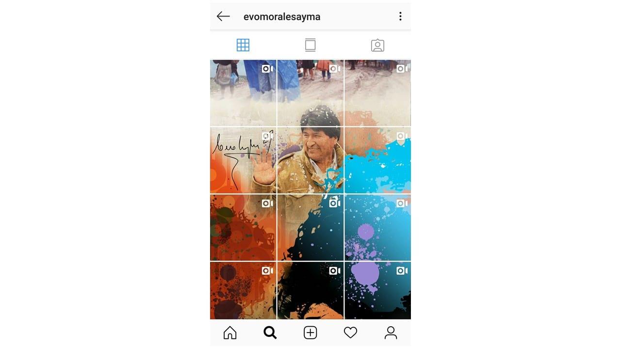 Mosaico no Instagram: imagem do mosaico no perfil do Evo Morales no Instagram.