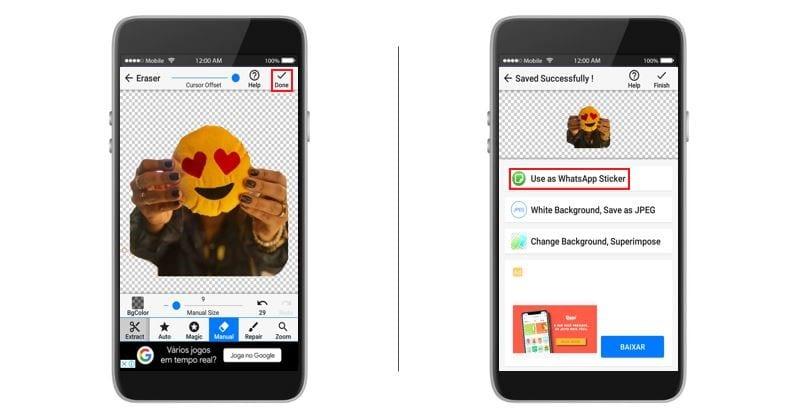 Como fazer figurinhas no whatsapp: imagem da tela do aplicativo Background Eraser.