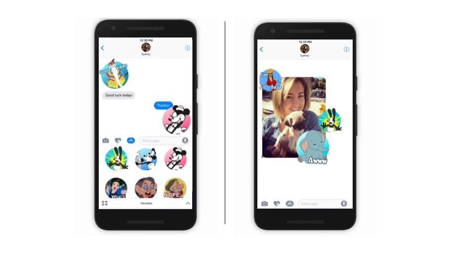 Como fazer figurinhas no WhatsApp: imagem da tela do celular com figurinhas da Disney.