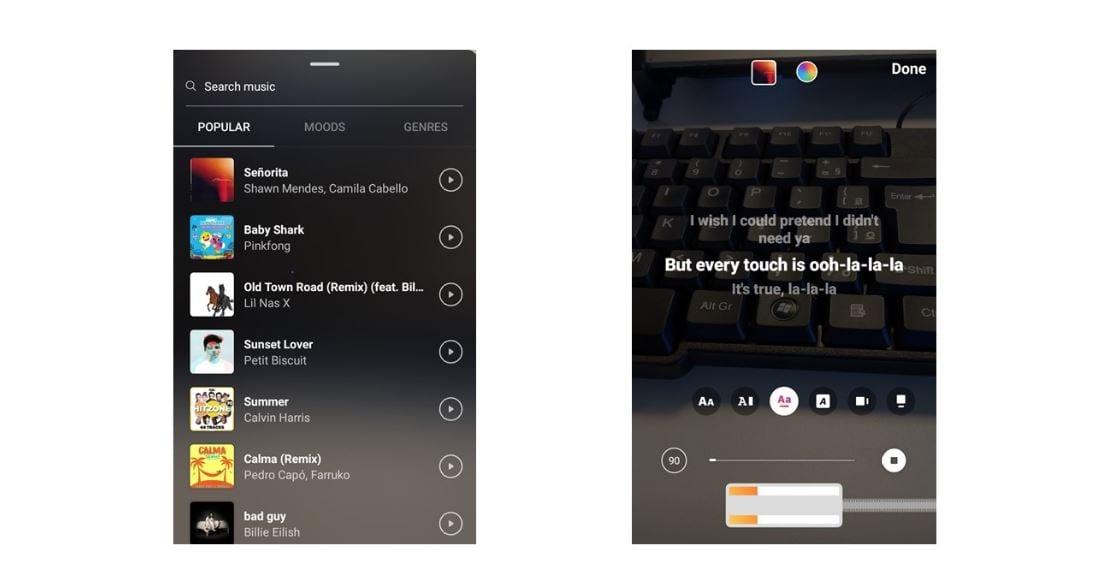Como colocar música no Instagram Stories: imagem da tela do Instagram.