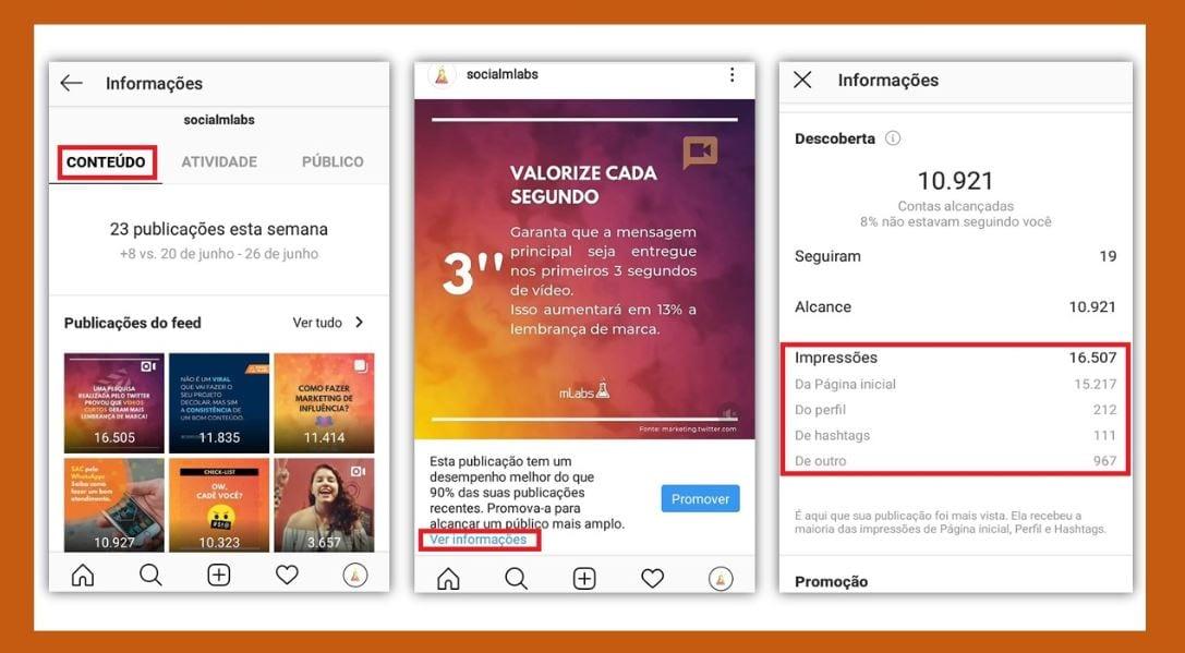 Impressões no Instagram: imagem da tela de configurações do Instagram.