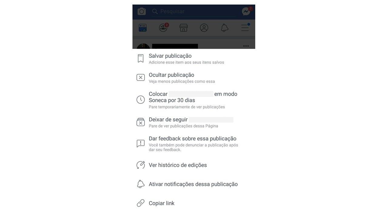 Feedback no Facebook: imagem da tela do Facebook
