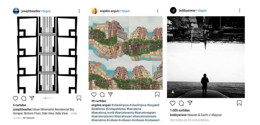 Layout para Instagram: imagem de três posts no Instagram realizados pelo aplicativo Layout.