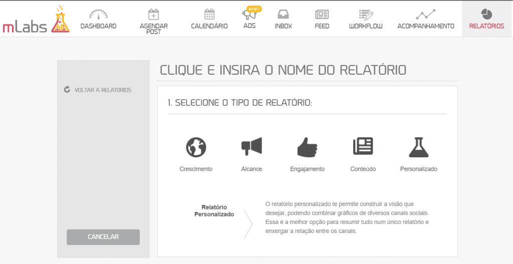 """Impressões Instagram 7: na imagem está um print da plataforma da mLabs, com a aba """"Relatórios"""" selecionada, com as opções disponíveis para personalizar os gráficos e dados."""