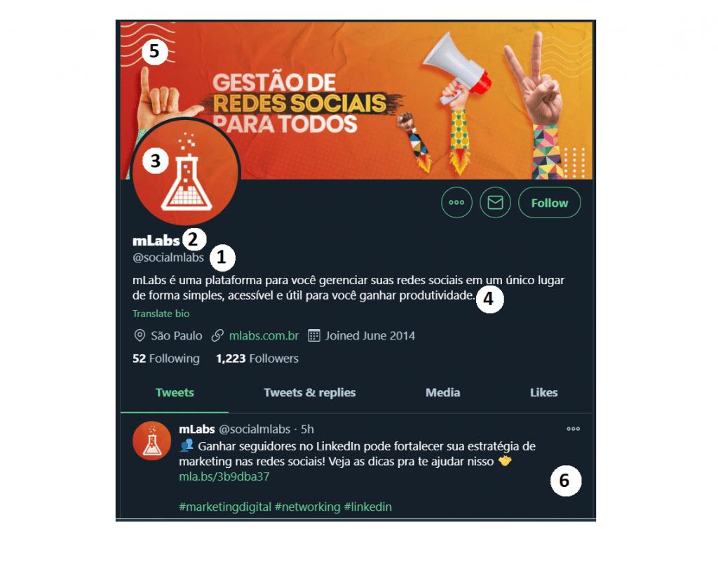 Twitter para empresas: imagem da tela principal do perfil do twitter que mostra elementos como foto de capa, foto de perfil, a arroba, o nome e a biografia do perfil.