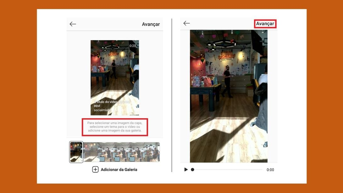 Vídeo do IGTV no feed do Instagram:imagem da tela do Instagram, mostrando como criar um vídeo no IGTV.