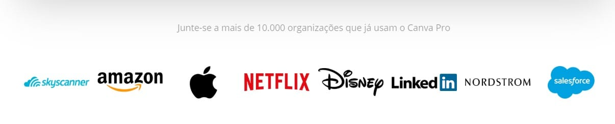 Canva online: imagem do logo das marcas Skycanner, Amazon, Apple, Netflix, Disney, LinkedIn, Nordstrom, Salesforce