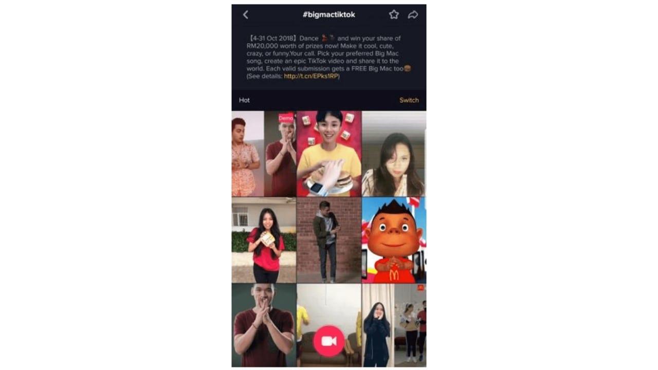 Como fazer vídeo no Tik Tok: imagem da tela do aplicativo com a hashtag big mac tik tok