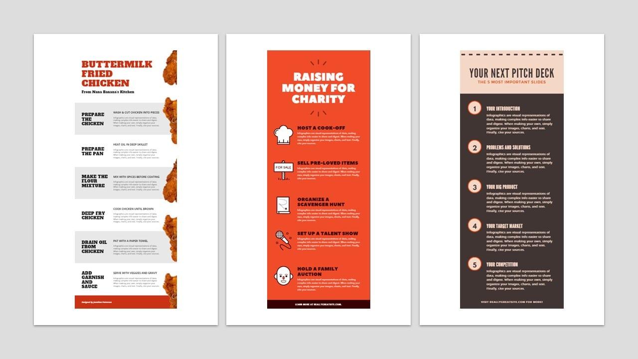 Como fazer um infográfico: imagens de três modelos de infográficos com informações resumidas