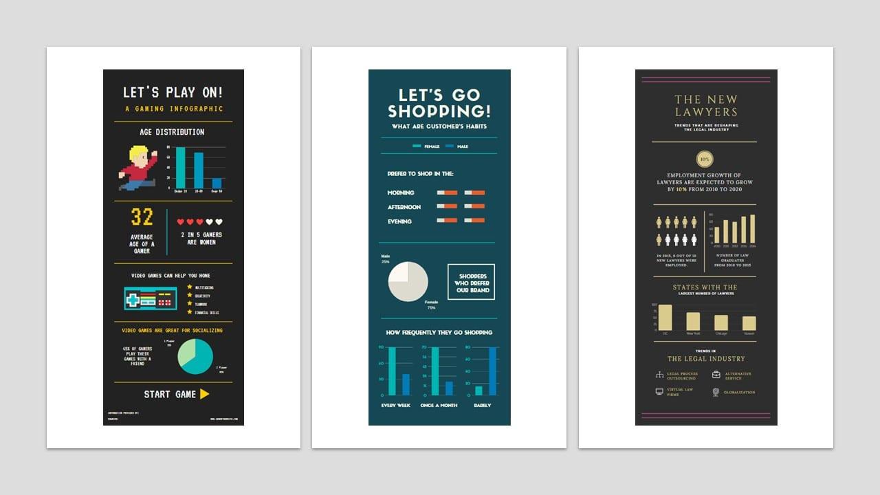 Como fazer um infográfico: imagem de três modelos de infográficos com muitas informações