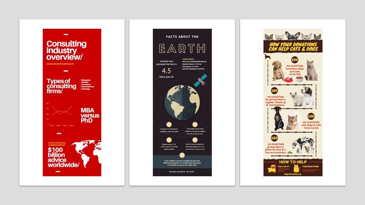 Como fazer um infográfico: imagem de três modelos de infográficos incomuns
