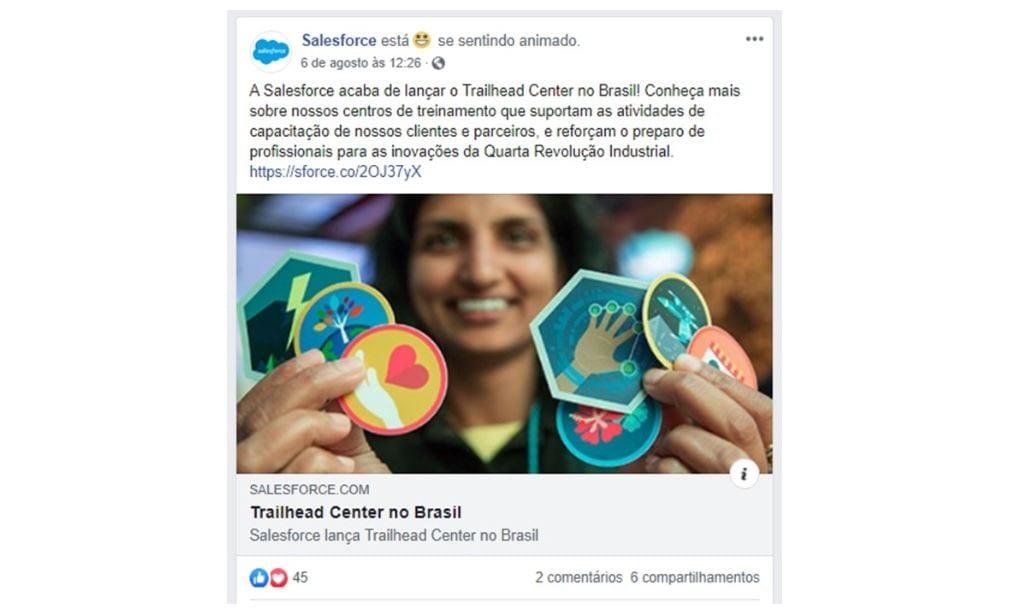 B2B Marketing: imagem de um post da Salesforce no Facebook