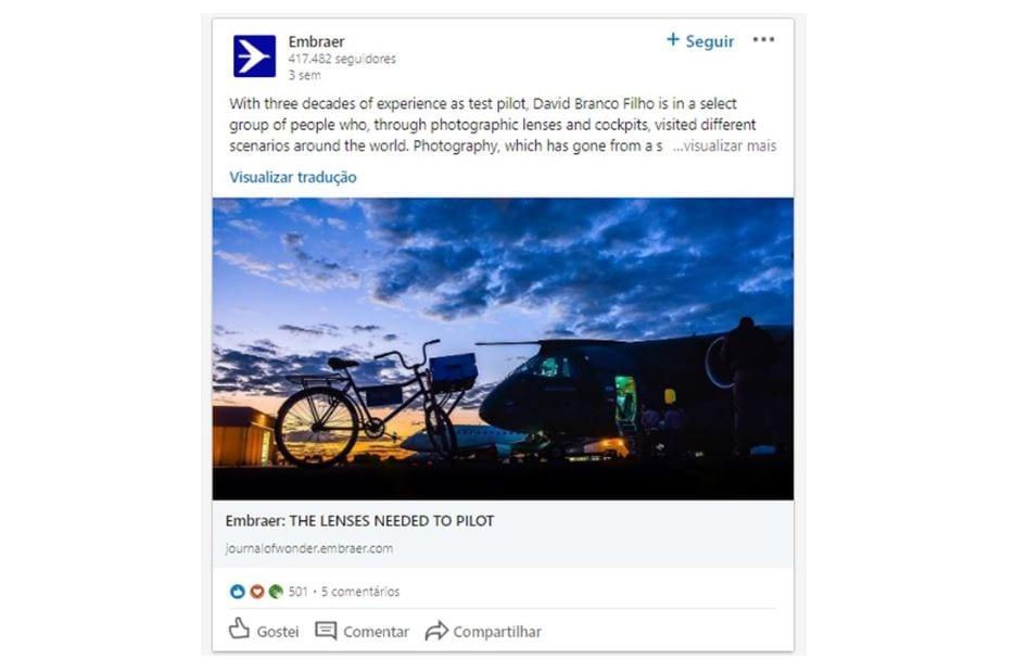 B2B Marketing: imagem de um post da Embraer no LinkedIn