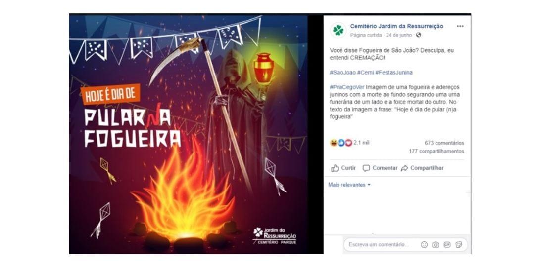Como atrair clientes: imagem de um post no Instagram do Cemitério Jardim da Ressurreição