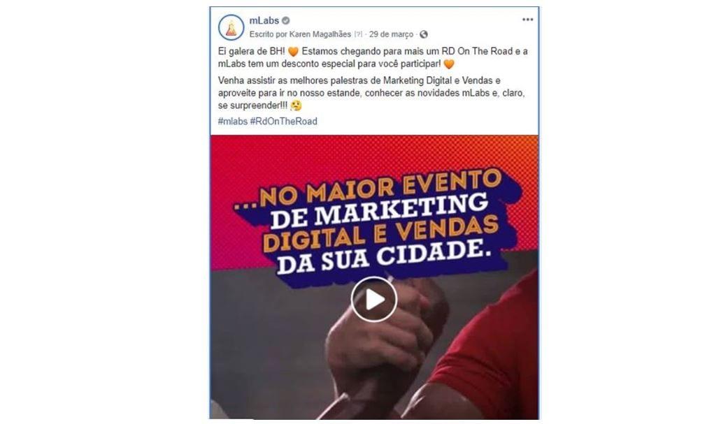 Facebook para negócios: imagem de um post da mLabs sobre um evento em Belo Horizonte.