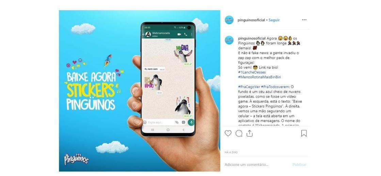 Emoticons para Instagram: imagem de um post no Instagram da marca Pinguins