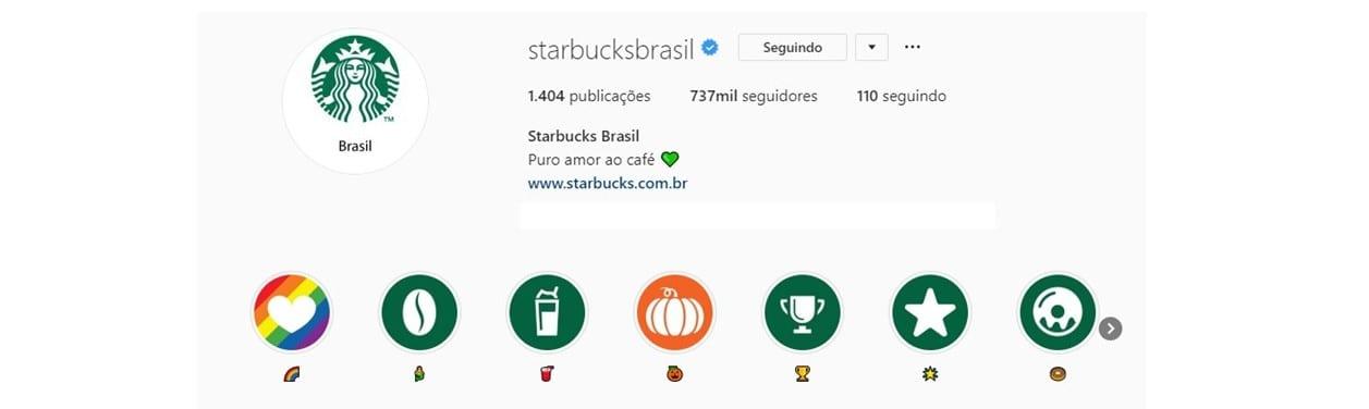 Emoticons para Instagram: imagem do perfil da Starbucks no Instagram