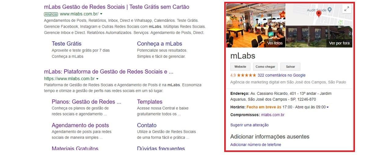 Google Meu Negócio: imagem da ficha da mLabs no Google.