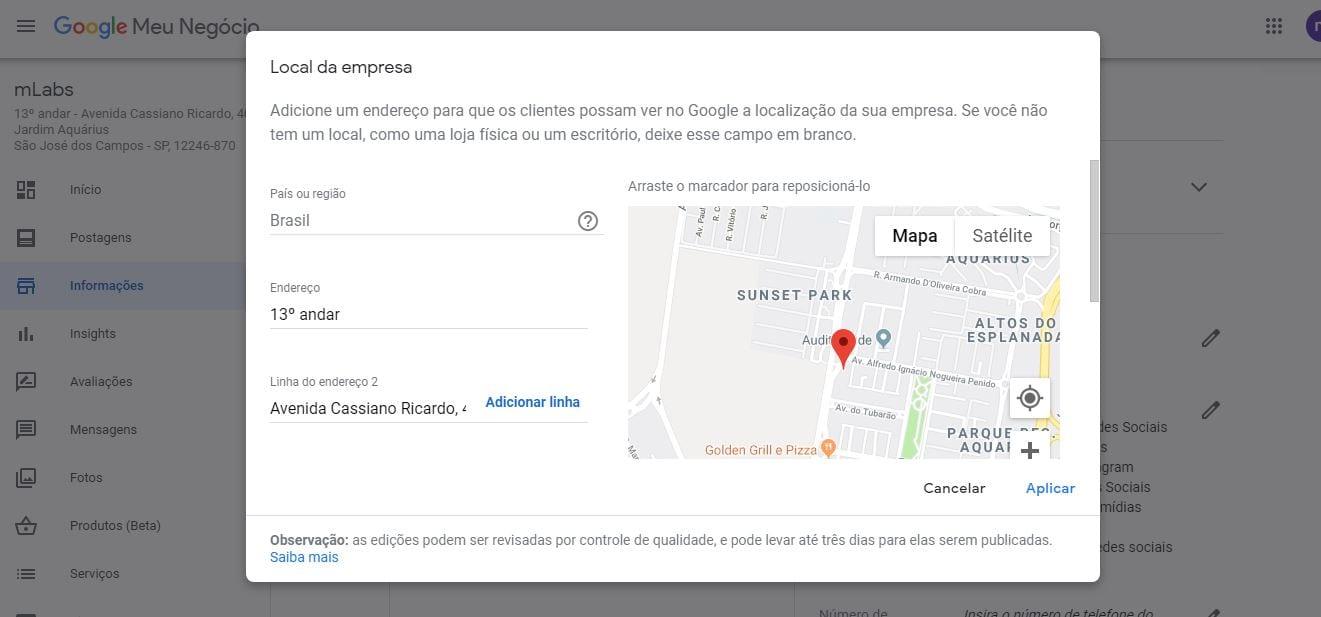 Como alterar endereço no Google Meu Negócio: imagem da tela inicial do Google Meu Negócio