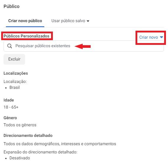 facebook retargeting: imagem da tela do Gerenciador de Anúncios do Facebook indicando onde se localizam os públicos personalizados
