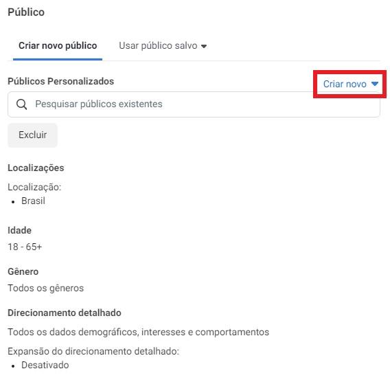 facebook retargeting: imagem da tela do Gerenciador de Anúncios do Facebook indicando onde criar um público novo