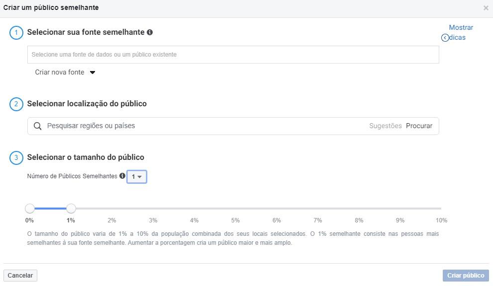 facebook retargeting: imagem do gerenciador de anúncios do facebook mostrando as opções do público semelhante