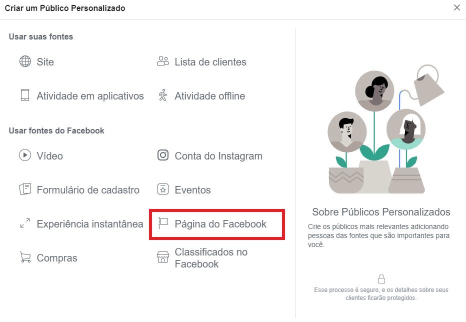 facebook retargeting: imagem do gerenciador de anúncios do facebook mostrando onde se localiza a opção página do facebook