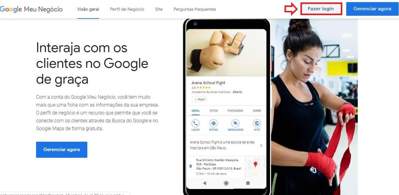 Como excluir empresa do Google Meu Negócio: imagem da tela de login da ferramenta.