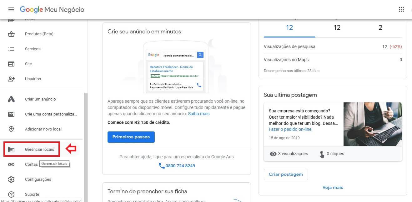 Como excluir empresa do Google Meu Negócio: imagem da home e do menu da ferramenta.