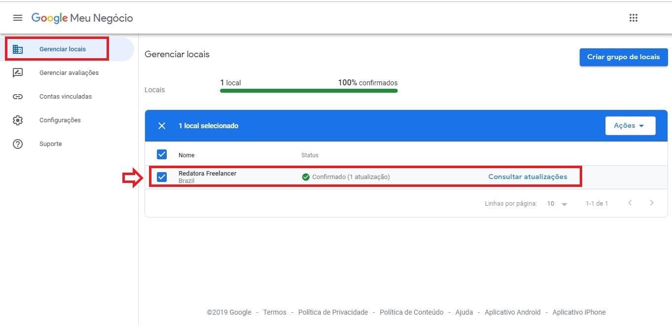 Como excluir empresa do Google Meu Negócio: imagem da página Gerenciador de Locais mostrando a empresa selecionada para a exclusão.