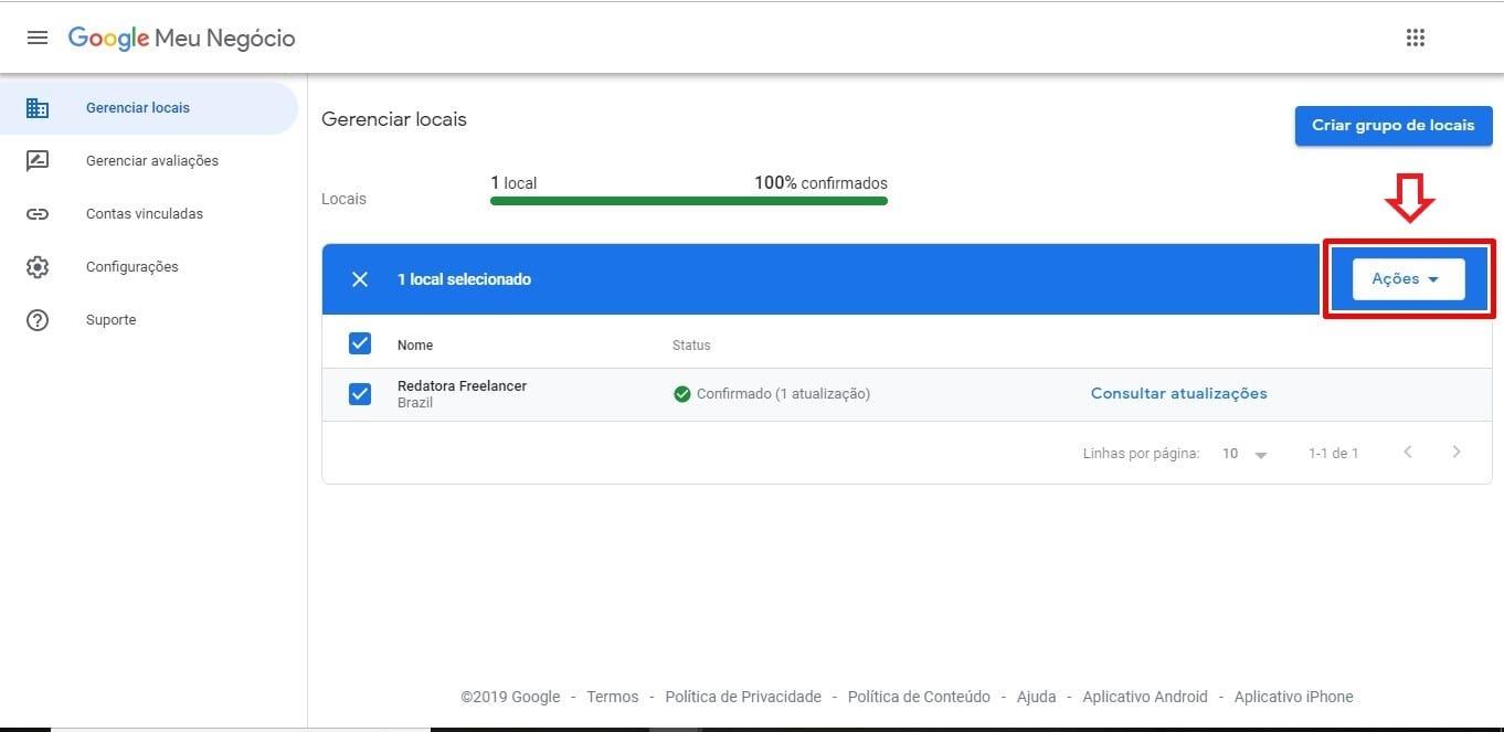 Como excluir empresa do Google Meu Negócio: imagem da página Gerenciador de Locais mostrando o botão de ação.