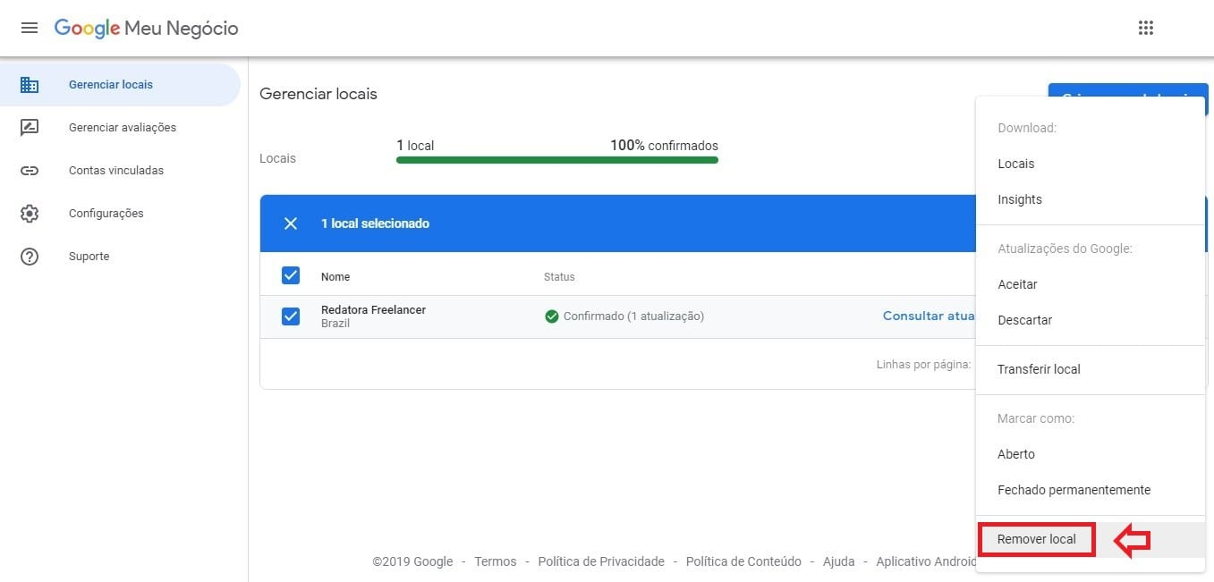 Como excluir empresa do Google Meu Negócio: imagem da página Gerenciador de Locais mostrando a opção de remover empresa.
