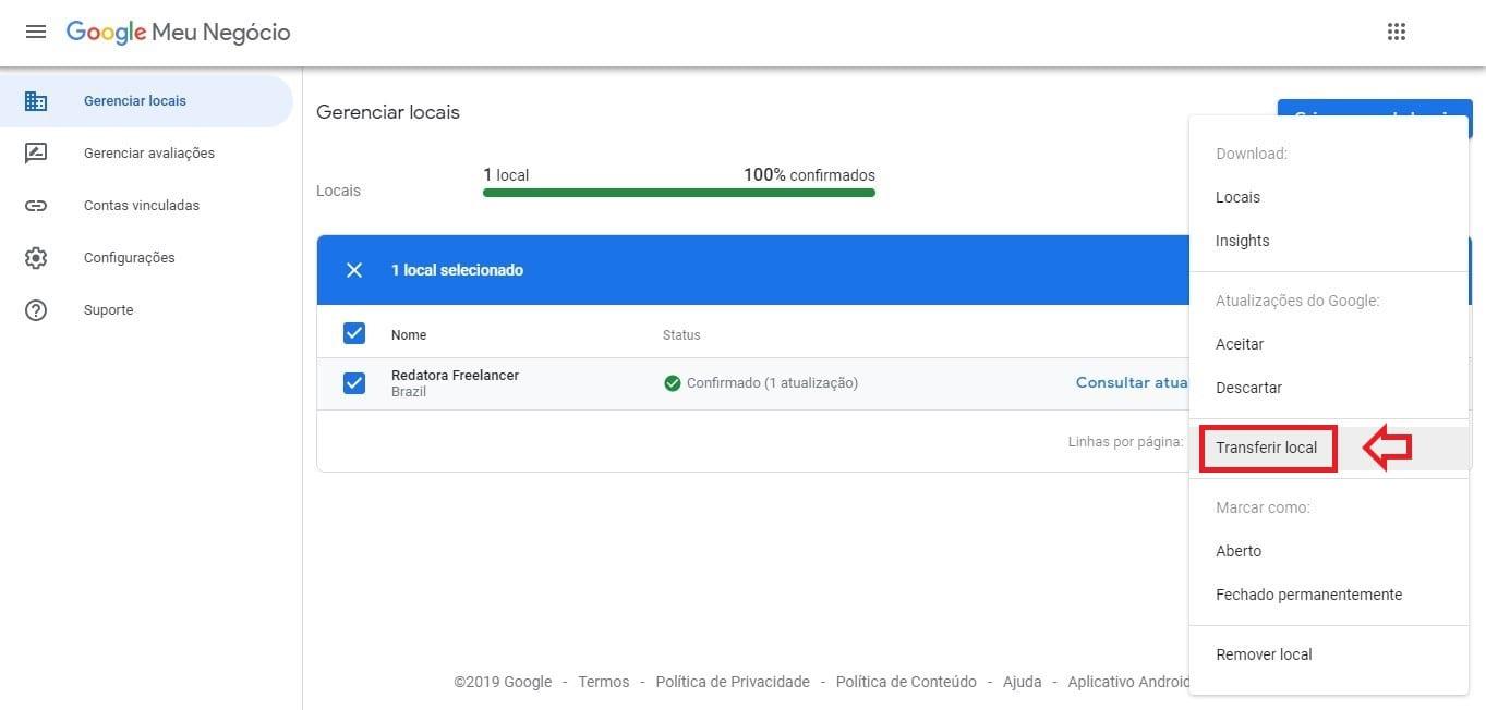 Como excluir empresa do Google Meu Negócio: imagem da página Gerenciador de Locais mostrando a opção Transferir Local.
