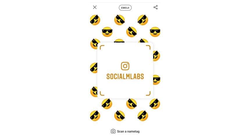 Tag de nome no Instagram: imagem da tela nametag do Instagram.