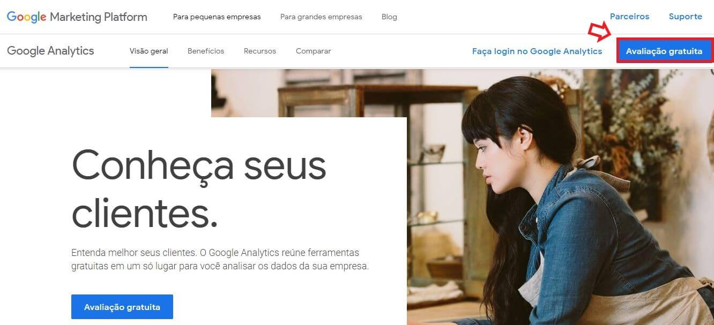 Como criar conta no Google Analytics: imagem da tela de login do Google Analytics.
