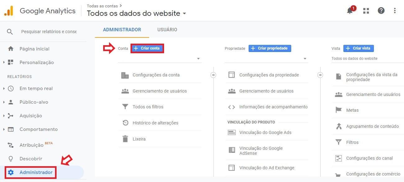 Como criar conta no Google Analytics: imagem da tela criar nova conta do Google Analytics.