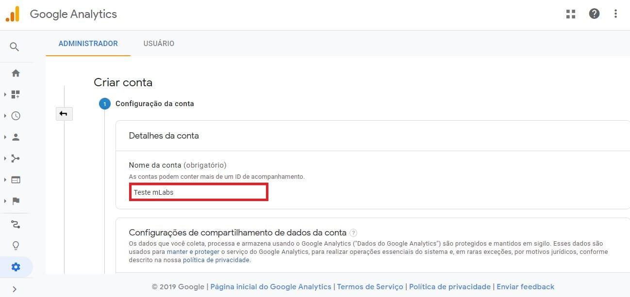 Como criar conta no Google Analytics: imagem da tela criar conta.