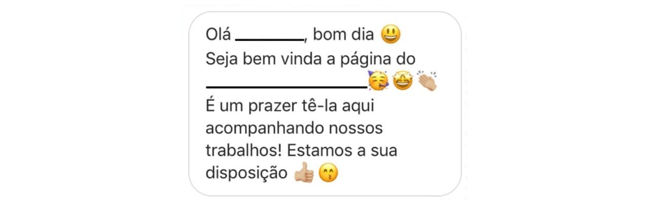 Mensagem automática no Instagram: imagem de uma direct message de boas vindas.
