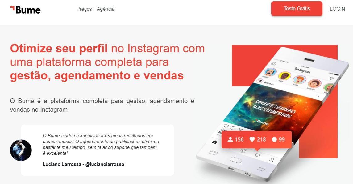 Mensagem automática no Instagram: imagem do site Bume