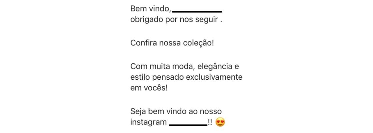 Mensagem automática no Instagram: imagem de uma mensagem de bem-vindo na rede social