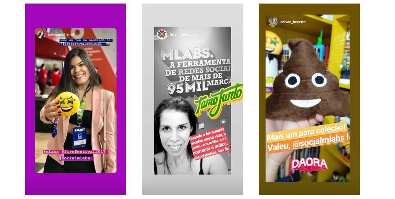 Gatilho mental: imagem de três stories de usuários fazendo menção a marca mLabs no Instagram.