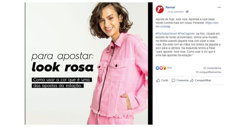 Social Media Manager: imagem de uma publicação da Renner do Facebook