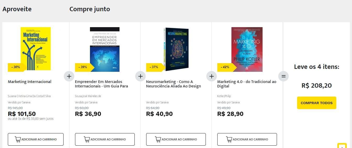 Cross Selling: imagem da loja online da Saraiva