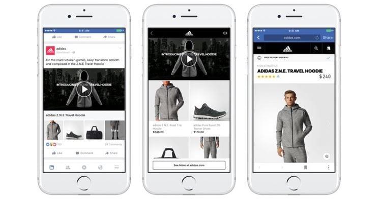 Cross Selling: imagem de três modelos de anúncios diferentes na ferramenta Coleção do Facebook.