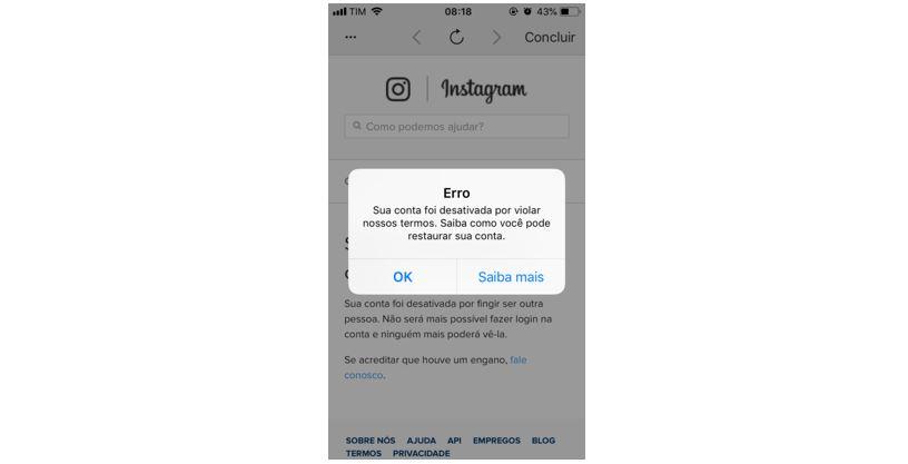Ação Bloqueada no Instagram: imagem do print de tela com a mensagem de erro que aparece quando a conta é bloqueada.