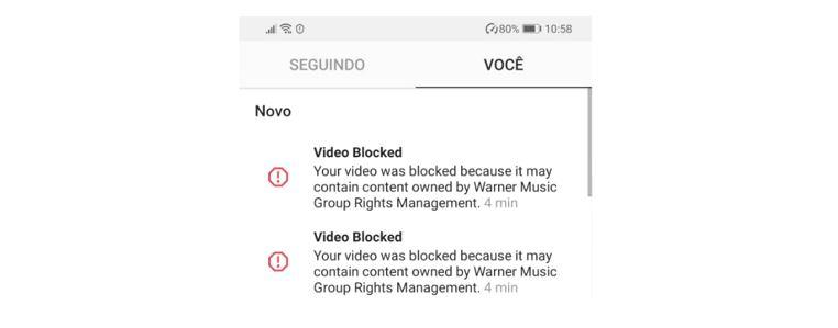 Ação bloqueada no Instagram: imagem da notificação de bloqueio no Instagram pelo motivo de Direitos Autorais