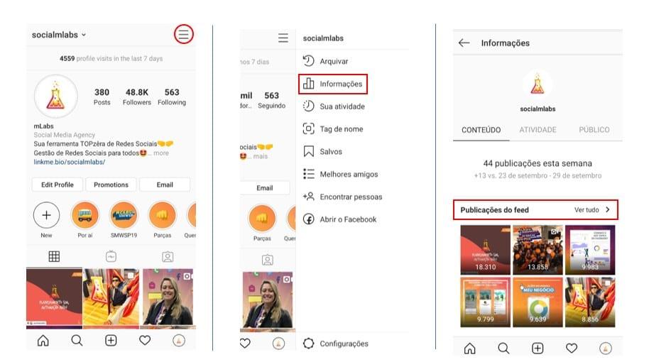 Ganhar seguidores no Instagram: imagem da página de configurações do instagram da mlabs