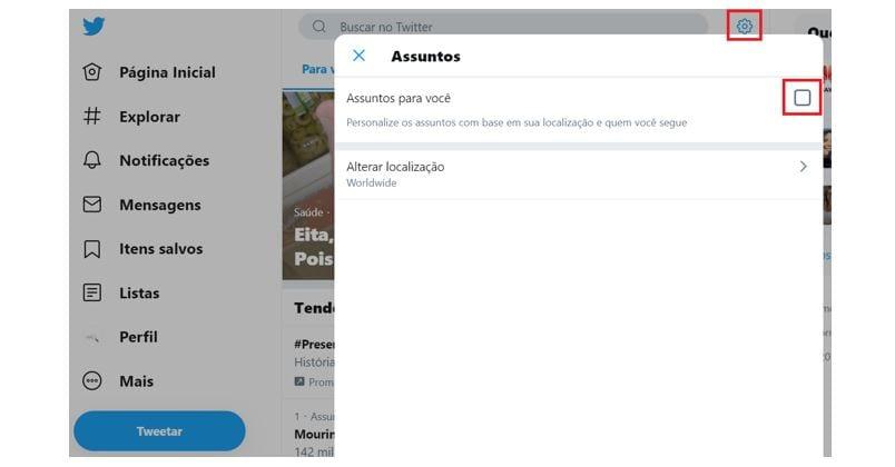 Twitter Trending Topics: imagem da página de configurações do Twitter